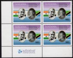 Tanzania - 2019 - 150th Anniversary Of Mahatma Gandhi Birth - Mint Block Of 4 Stamps With Printer's Logo - Tansania (1964-...)