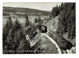 SUISSE La Vallée De Joux Le Lac Et Le Tunnel Du Pré Lionnet Avec Un Train Gare Carte Pas Courante - VD Vaud