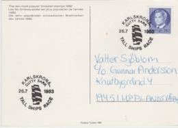TALL SHIPS RACE COURSES DE BATEAUX HOHE SCHIFFE RENNEN - CUTTY SARK  - KARLSDKRONA SWEDEN SUEDE SCHWEDEN 1983 POSTMARK - Segeln