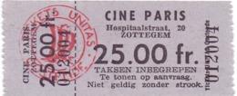 Ticket D' Entrée Ingangsticket - Cinema Bioscoop Ciné Paris - Zottegem - Tickets D'entrée