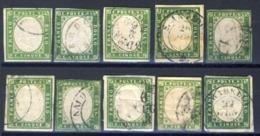 IV Emissione - 5 C. Lotto Di 10 Esemplari Di Varie Tonalita' Catalogate E Alcune Firmate (2 Immagini) - Sardaigne