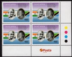 Tanzania - 2019 - 150th Anniversary Of Mahatma Gandhi Birth - Mint Block Of 4 Stamps With Post Logo - Tansania (1964-...)
