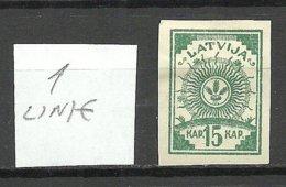 LETTLAND Latvia 1919 Michel 5 B Mit Nur 1 Linie/only 1 Linie * - Lettland