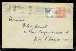 Letter From Tomás Hervás Monchon Abogado Valencia To Belgium With Stamps El Cid N°580 + 60 Ct Franco N°670 (about 1940) - 1931-Aujourd'hui: II. République - ....Juan Carlos I