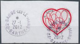 France - St-Valentin 2012 Adeline André YT A648A Obl. Cachet Rond Manuel Sur Fragment - France