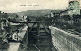 Givors - Ecluse Du Canal CPA Animée Peu Commune - Givors