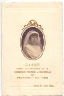 Menu - Diner - Communie Communion Fernande De Tier - Gand Gent 7 Juin 1931 - Menus