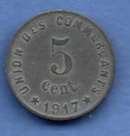 Castelnaudary --  5 Centimes 1917   -  état  TB+ - Monétaires / De Nécessité