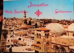Old Vintage Beautiful Postcard VIEW OF HOLY SEPULCHRE SQUARE Jerusalem Getsemani Jordan 1960's / 70's - Giordania
