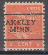 USA Precancel Vorausentwertung Preo, Locals Minnesota, Akeley 701 - Vereinigte Staaten