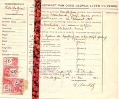Gemeentebestuur Oordegem - Bewijs Goed Gedrag & Zeden Jozef Oosterlinck Wetteren - 1946 - Unclassified