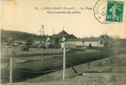 Cpa L ISLE ADAM 95 La Plage - Vue D'ensemble Des Cabines - Cachet Convoyeur Paris à Persan Beaumont - L'Isle Adam