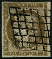 Oblit. N°1 10c Bistre, Signé Calves Et Brun - TB - 1849-1850 Ceres
