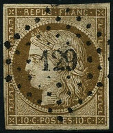 Oblit. N°1 10c Bistre, Obl PC Signé JF Brun - TB - 1849-1850 Cérès