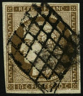 Oblit. N°1a 10c Bistre-brun, Signé Calves - TB - 1849-1850 Cérès