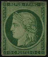 (*) N°2 15c Vert, NSG Signé Brun - TB - 1849-1850 Cérès