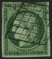 Oblit. N°2 15c Vert, Signé Calves - TB - 1849-1850 Cérès