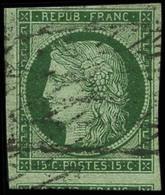 Oblit. N°2a 15c Vert Clair , Signé Brun - TB - 1849-1850 Cérès