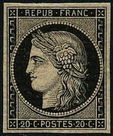 ** N°3 20c Noir S/jaune, Signé Roumet - TB - 1849-1850 Cérès