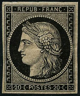 ** N°3 20c Noir S/jaune - B - 1849-1850 Cérès