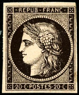 * N°3 20c Noir S/jaune - B - 1849-1850 Cérès