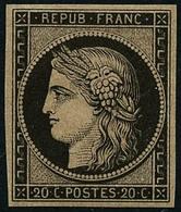 ** N°3F 20c Noir, Réimp - TB - 1849-1850 Ceres