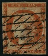 Oblit. N°5d 40c Orange, 4 Retouché Pelurage Au Verso, RARE - B - 1849-1850 Cérès