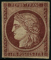 * N°6A 1F Rouge-brun, Neuf Avec Gomme, Signé Roumet, Calves Et Bun,timbre Très Rare - TB - 1849-1850 Cérès