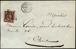 Lettre N°6b 1F Carmin Foncé S/devant De Lettre, Une Marge Touchée - B - 1849-1850 Cérès