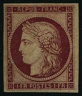 "** N°6F 1F Carmin, R""imp - TB - 1849-1850 Cérès"
