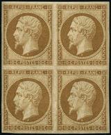** N°9e 10c Bistre, Réimp Bloc De 4, Qualité Exceptionnelle - TB - 1852 Luis-Napoléon