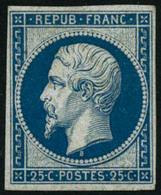 ** N°10c 25c Bleu, Réimp - TB - 1852 Luis-Napoléon
