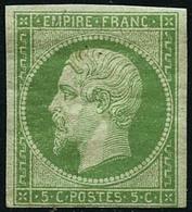 ** N°12 5c Vert Au Filet En Bas - B - 1853-1860 Napoleon III