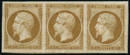 ** N°13A 10c Bistre, Type I Bande De 3, Pièce De Luxe - TB - 1853-1860 Napoleon III