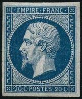 ** N°14A 20c Bleu, Type I Signé Calves - TB - 1853-1860 Napoléon III