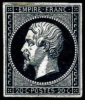 * N°14Ab 20c Bleu-noir, Type I Signé JF Brun - TB - 1853-1860 Napoleon III