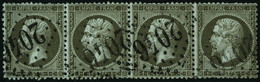 Oblit. N°19 1c Olive, Bande De 4 Obl GC - TB - 1862 Napoleon III