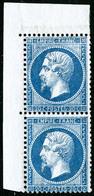 ** N°22 20c Bleu, Paire Coin De Feuille  - TB - 1862 Napoleon III