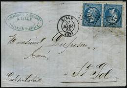 Lettre N°22b Bleu, Paire Tête-bèche Sur Devant De Lettre, Obl GC 2046 Lille 27/3/65 - TB - 1862 Napoleon III