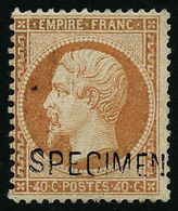 ** N°23d 40c Orange, Surchargé Specimen Petite Paille Dans Le Papier, Signé Calves - TB - 1862 Napoleon III