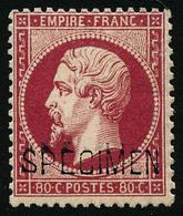 ** N°24d 80c Rose, Surchargé Spécimen, Signé Brun - TB - 1862 Napoleon III