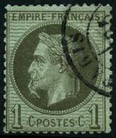 Oblit. N°25b 1c Bronze ( à La Cigarette) Infime Pelurage Au Verso - B - 1863-1870 Napoleon III With Laurels