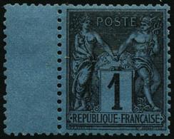 ** N°84 1c Noir S/bleu De Prusse, Pièce De Luxe Signé Miro - TB - 1876-1898 Sage (Tipo II)