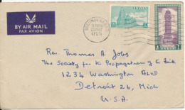 India Air Mail Cover Dent To USA Secunderabad 20-5-1955 - Covers & Documents