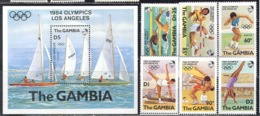 0548 ✅ Sport Olympic Games Yachts Athletics 1984 Gambia 6v+S/s Set MNH ** 7ME - Sommer 1984: Los Angeles
