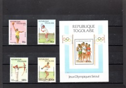 Togo Nº 1230-31 + Aereo 651-52 + H.B. 266 Olimpiadas, Serie Completa En Nuevo 11,80 € - Verano 1988: Seúl