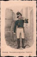 ! Ansichtskarte Büttenpapier Herzoglicher Braunschweiger Postillion, Deutscher Post Almanach - Post