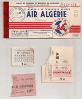1961 SOUCHE BILLET AIR ALGERIE / COMPAGNIE GENERALE DE TRANSPORT AERIEN /  ALGER MARSEILLE REDEVANCE AEROPORT  E29 - Billets D'embarquement D'avion