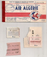 1961 SOUCHE BILLET AIR ALGERIE / COMPAGNIE GENERALE DE TRANSPORT AERIEN /  ALGER MARSEILLE REDEVANCE AEROPORT  E29 - Vliegtickets