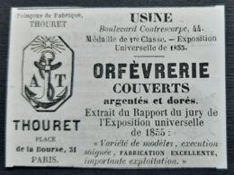 1858 THOURET ORFEVRERIE COUVERTS ARGENTES DORES PUBLICITE ANCIENNE ART DE LA TABLE COUTELLERIE ORFEVEVRE PARIS - Publicidad